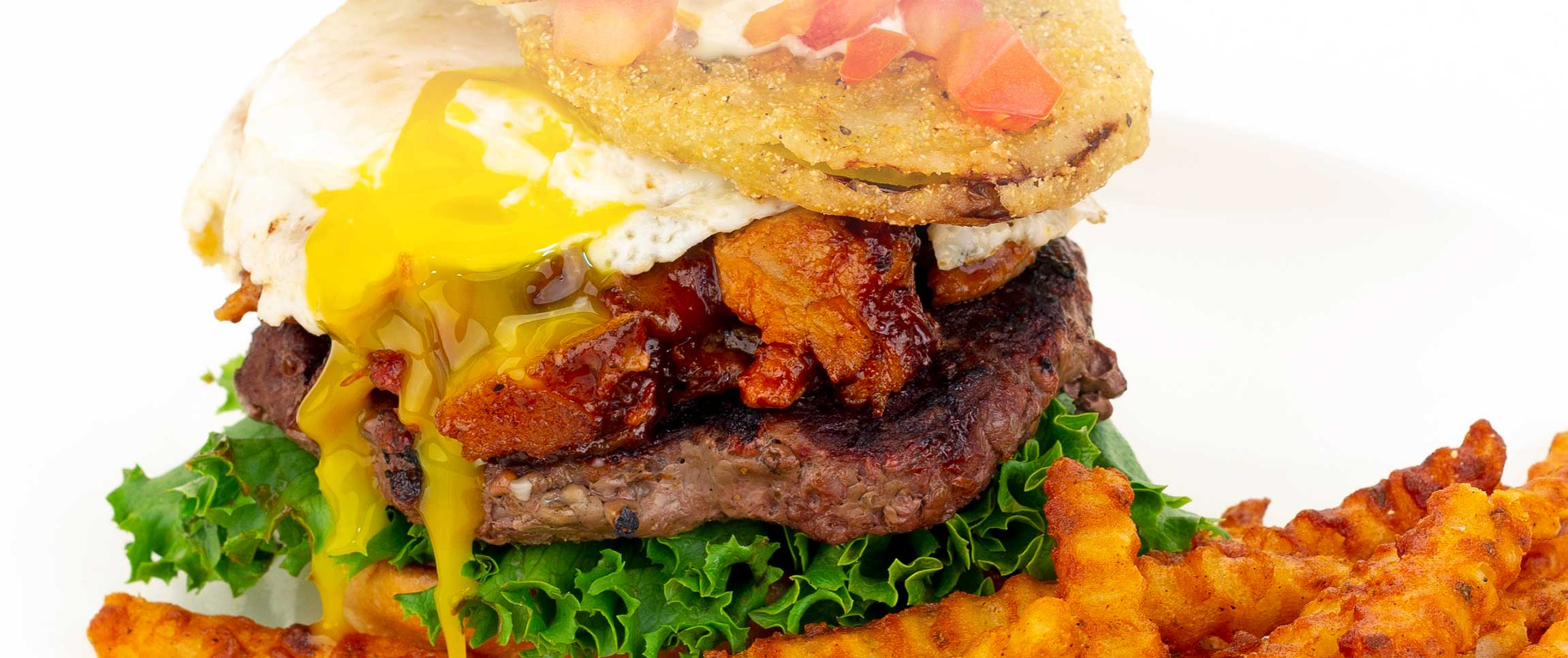 Burger with Egg, Pork, and Green Tomato
