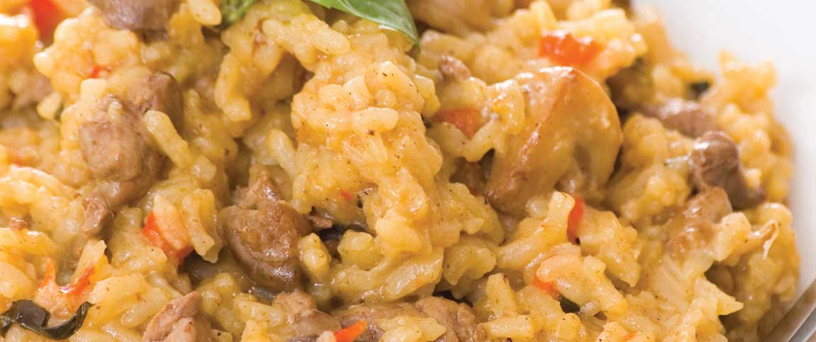 Sausage, Tomato, and Spinach Risotto