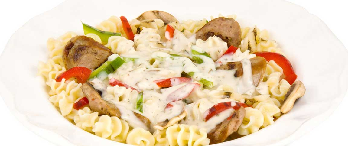 Sausage and Veggie Pasta with Herb Cream Sauce