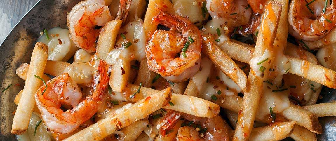 Spicy Shrimp Poutine with Sweet Chili Sauce