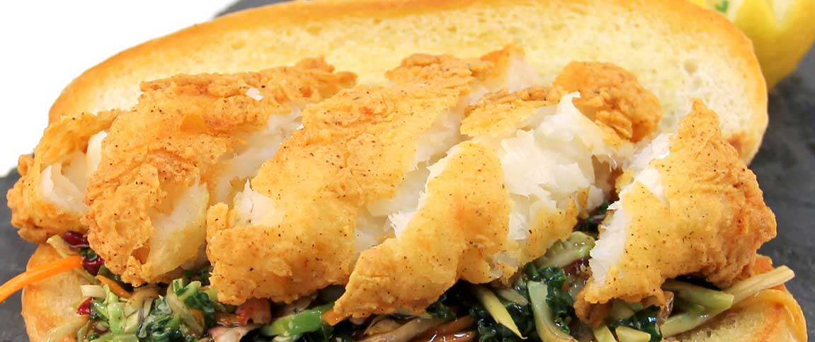 Spicy Battered Cod Po'Boy