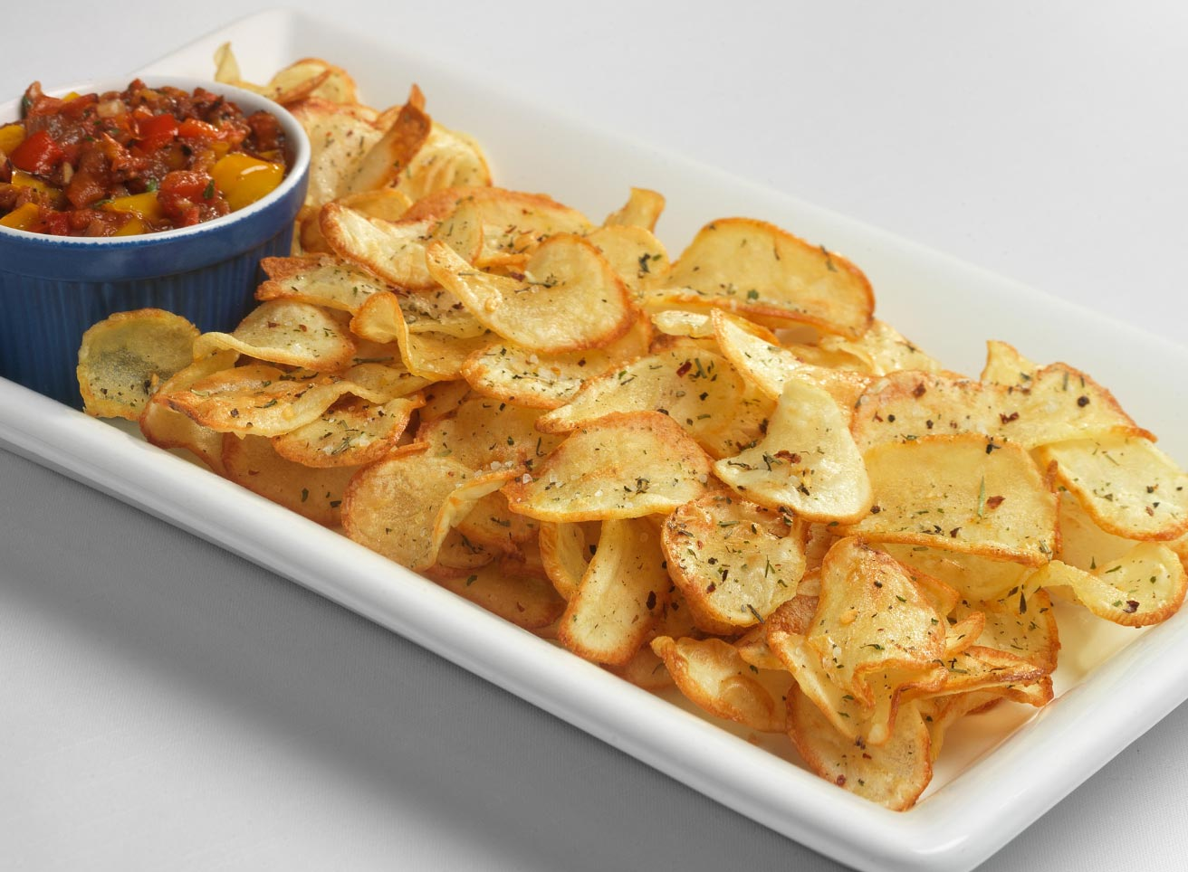 Balsamic-Herb Potato Chips with Italian Salsa