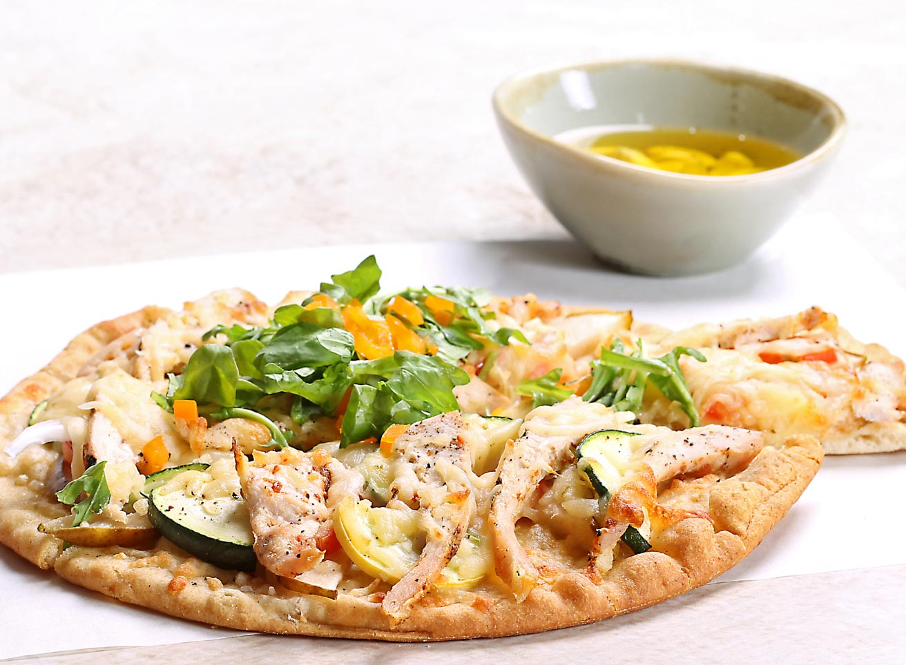 Grilled Chicken and Vegetables on a Flatbread