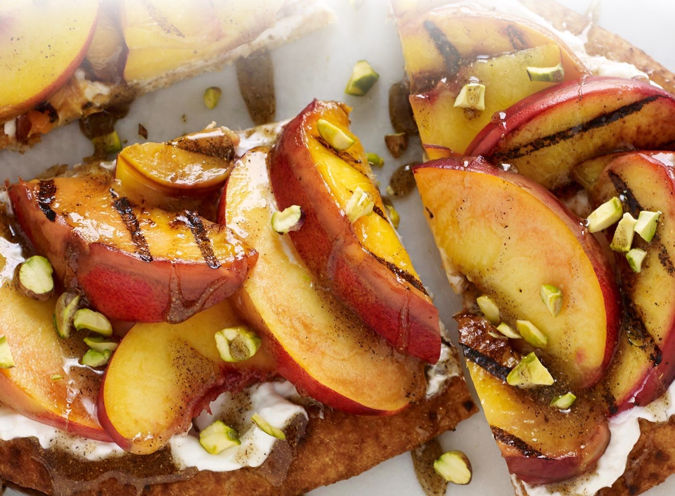 Pie Crust Topped with Grilled Peaches