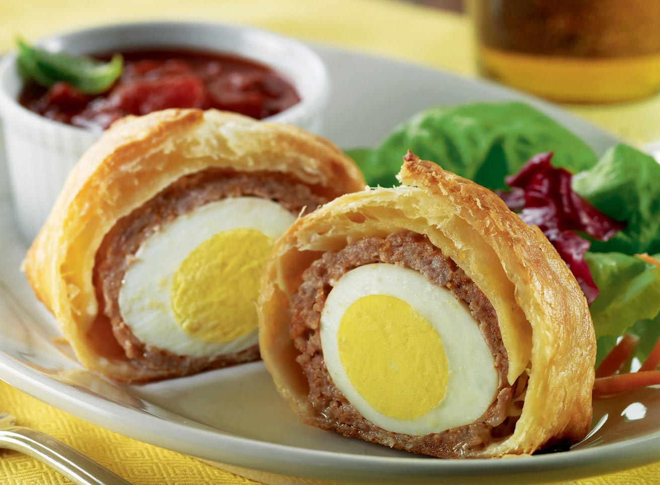 Sausage and Puff Pastry Wrapped Eggs